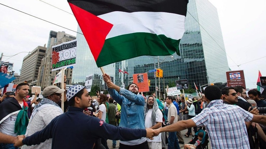 A Palestinian supporter waves a flag as others create a human barricade shielding them from opposing Israeli supporters during a rally protesting the war between Israel and Hamas members in the Gaza Strip in Toronto on Saturday, July 26, 2014. (AP Photo/The Canadian Press, Darren Calabrese)