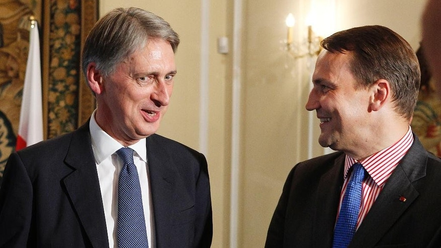 Britain's Foreign Secretary Philip Hammond, left, speaks with  Polish Foreign Minister Radek Sikorski, right,  in Warsaw, Poland on Monday, July 28, 2014,  after talks upon the situation in eastern Ukraine.  (AP Photo/Czarek Sokolowski)