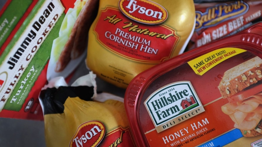 MIAMI, FL - MAY 29:  In this photo illustration, Tyson Food and Hillshire Brands food products are seen on May 29, 2014 in Miami, Florida. Tyson Foods made a $ 6.8 billion all-cash proposal to aquire Hillshire Brands whose brands include among others Jimmy Dean sausages and Ball Park hot dogs.  (Photo by Joe Raedle/Getty Images)