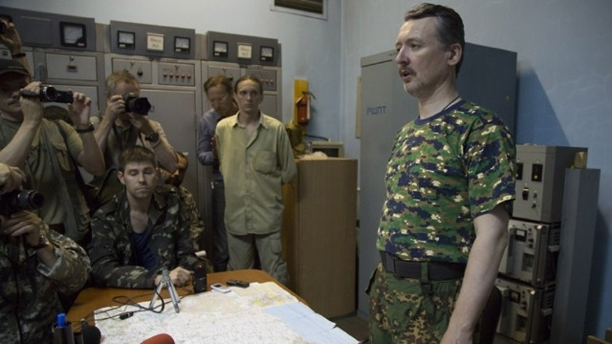 July 28, 2014: Igor Strelkov, a pro-Russian rebel commander, speaks to the media in the city of Donetsk, eastern Ukraine. (AP Photo/Dmitry Lovetsky)