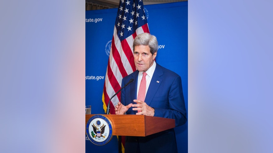 U.S. Secretary of State John Kerry announces a 72-hour humanitarian cease-fire beginning Friday between Israel and Hamas, in New Delhi, India, Friday Aug. 1, 2014. During the 72-hour cease-fire, there will be negotiations on a more durable truce in the 24-day-old Gaza war, the United States and United Nations announced. (AP Photo/Lucas Jackson, Pool)