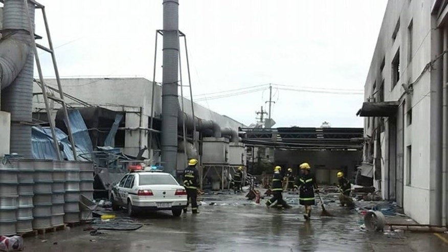 Aug. 2, 2014: This photo released by China&#39&#x3b;s Xinhua News Agency shows the site of an explosion at an eastern Chinese automotive parts factory in Kunshan City, Jiangsu Province.