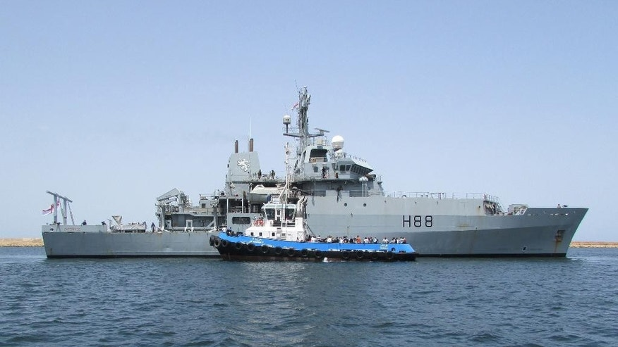 Photo issued by Britain's Ministry of Defence, showing HMS Enterprise as it evacuates Britons from Tripoli, Libya, Sunday Aug. 3, 2014. Around 100 Britons have fled from Libya and are on their way to sanctuary in Malta amid increasing violence in the north African state.  The Foreign and Commonwealth Office (FCO) confirmed an evacuation mission involving the Royal Navy survey ship HMS Enterprise had left its mooring near the Libyan capital of Tripoli and was on its way to safety. (AP Photo / MoD, Crown Copyright)
