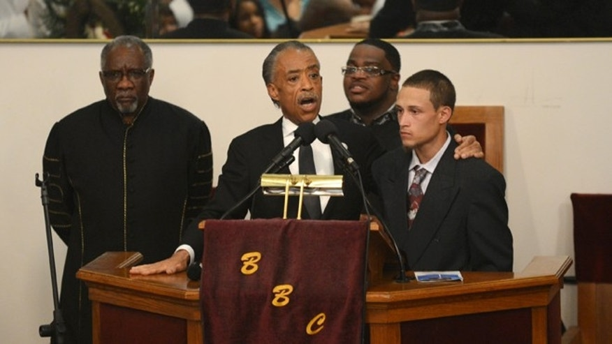 Rev. Al Sharpton introduces Ramsey Orta at the funeral of Eric Garner on July 23, 2014.