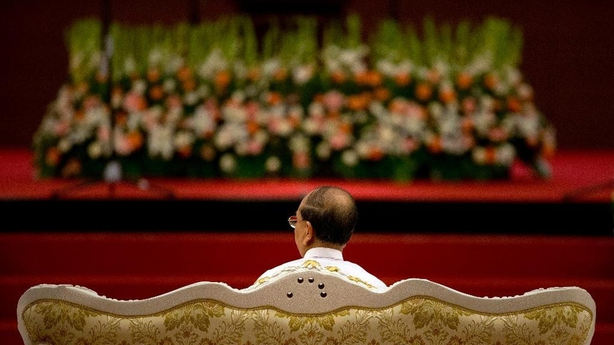 Myanmar's President Thein Sein sits during the opening ceremony of the 47th Association of Southeast Asian Nations (ASEAN) Foreign Ministers meeting in Naypyitaw, Myanmar, Friday, Aug. 8, 2014. Myanmar hosts the ASEAN Foreign Ministers meeting and Regional Forum from August 8-10.(AP Photo/Gemunu Amarasinghe)