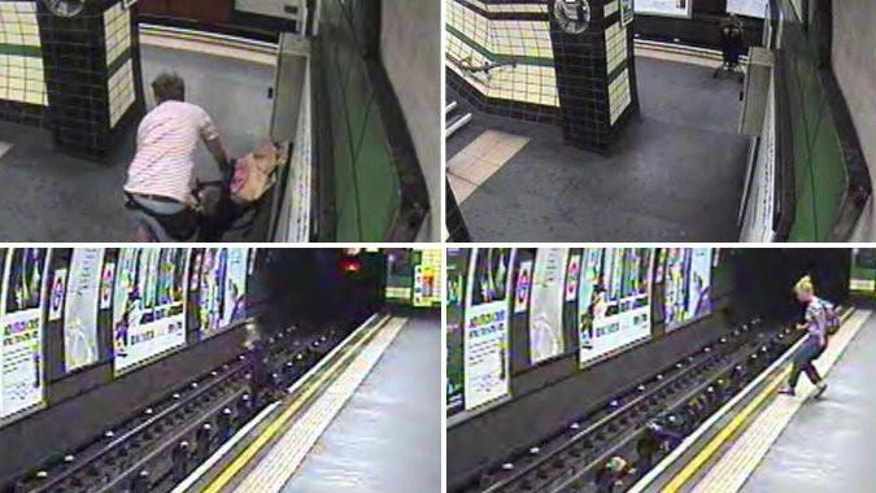 July 23, 2014 - Photos from video of child in stroller blown onto London subway tracks (AP/British Transport Police)