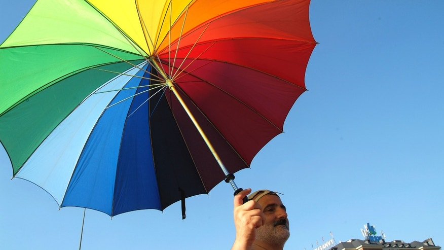 July 02, 2005. Madrid, Spain. Day of the Pride Gay. Parade. This year, the gays and lesbians collective celebrated the law that authorizes the marriages between couples of the same sex, recently approved.  (Photo by Quim Llenas/Cover/Getty Images)