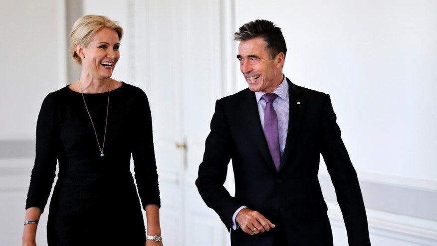 NATO Secretary General Anders Fogh Rasmussen meets Danish Prime Minister Helle Thorning-Schmidt, left, during his official visit to Denmark on Friday, Aug. 15, 2014. (AP Photo/POLFOTO, Jens Dresling)  DENMARK OUT
