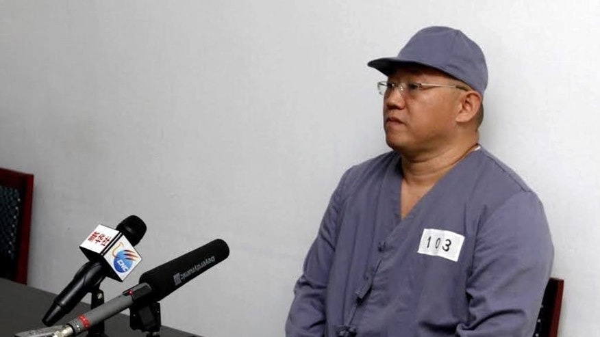 FILE - In this Monday, Jan. 20, 2014 file photo, American missionary Kenneth Bae speaks to reporters at Pyongyang Friendship Hospital in Pyongyang. Bae, 45, who has been jailed in North Korea for more than a year, appealed for the U.S. to do its best to secure his release. The North has recently taken a hard line on foreigners allegedly trying to spread Christianity. Bae has been held since November 2012 and is serving 15 years of hard labor for what North Korea says were hostile acts against the state. (AP Photo/Kim Kwang Hyon)