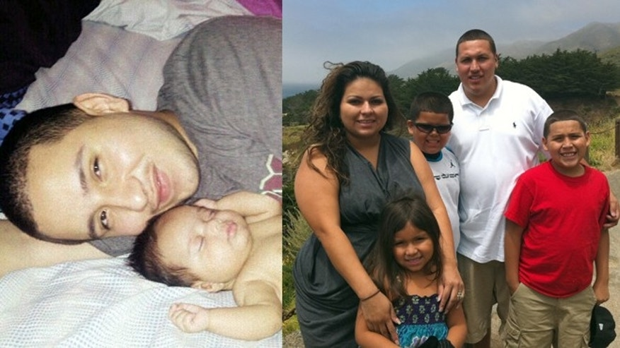Left: José Banda with his daughter; Right: The Barajas family. Caleb is in the middle, David Jr. on the right. (Photos: Associated Press)