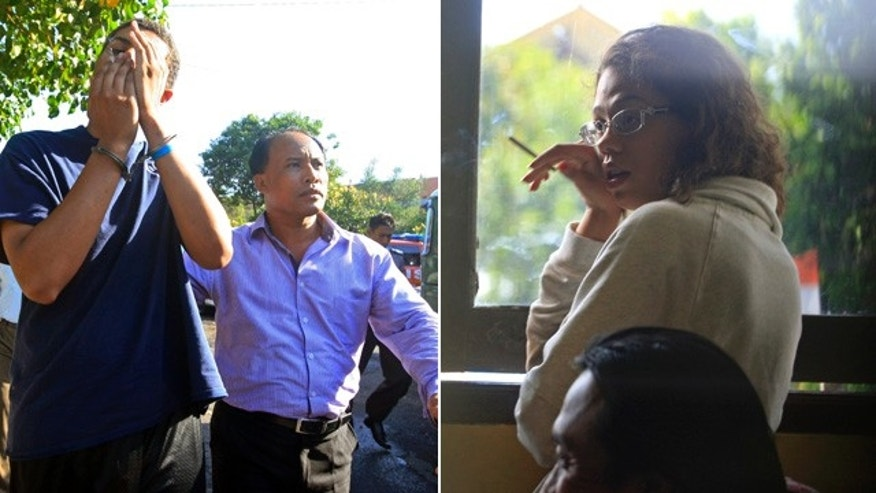 August 13 and 14, 2014: These images show Tommy Schaefer, left, and his girlfriend Heather Mack. Both have been arrested in Indonesia on suspicion of murdering the Mack's mother and stuffing her body into a suitcase at a resort hotel in Bali. Their appointed lawyer said Wednesday that the couple are behind held on suicide watch. (AP Photo/File)