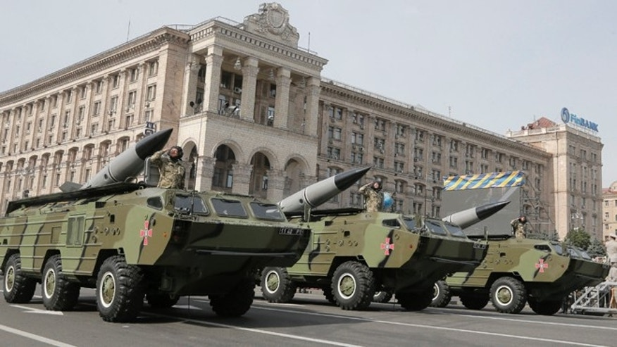 Aug. 24, 2014: Ukrainian missiles pass down Kiev's main street during a military parade to mark the 23rd anniversary of Ukraine's Independence, in the capital Kiev.