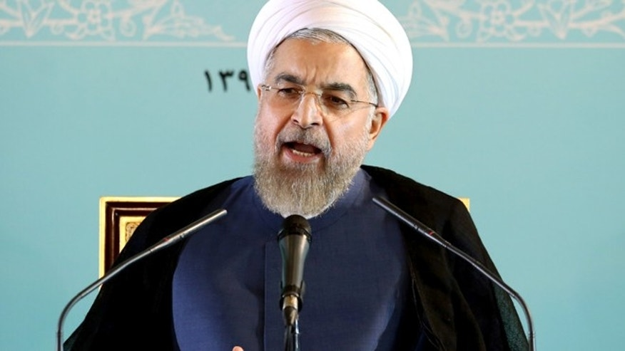 Aug. 30: Iranian President Hassan Rouhani speaks during a press conference in Tehran, Iran,
