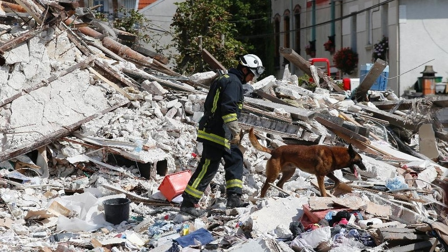 "A French fireman and his dog search in the rubble of a building after an explosion collapsed it, in Rosny-sous-Bois, outside Paris, Sunday, Aug. 31, 2014. French authorities say a four-story building in a northeastern Paris suburb has collapsed after an explosion, killing a child. More people are thought to underneath the rubble. Speaking on i-Tele, fire department spokesman Gabriel Plus said around 10 people were evacuated from the building in Rosny-sous-bois that occurred early Sunday morning. Plus said that around another 10 people could still be underneath the rubble, and emergency teams were working hard to rescue people who might be trapped. ""We could still find living victims in the hours to come,"" he said. Interior Minister Bernard Cazeneuve has arrived at the scene, but couldn't confirm a theory that the explosion was caused by a gas leak. (AP Photo/Christophe Ena)"