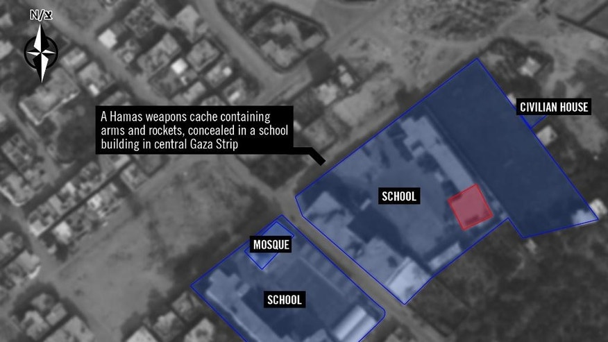 This undated image released by the Israel Defense Forces on Thursday, Sept. 4, 2014 shows a graphic overlay of a satellite image that purports to show a Hamas weapons cache in a school in the central Gaza Strip. With a 50-day war in Gaza behind it, the Israeli military is gearing up for what could become its next big battle: the possibility that a U.N. investigation could result in war-crimes allegations. The army has beefed up its legal staff, is conducting internal investigations of its wartime actions and has prepared a detailed PR campaign of satellite photos and video clips_ all with the goal of explaining why its campaign was justified and necessary. (AP Photo/Israel Defense Forces)