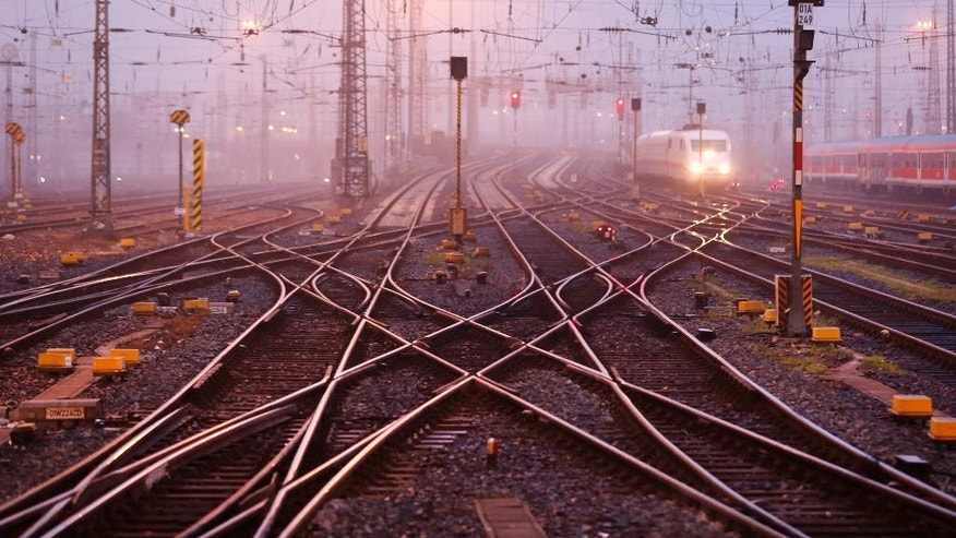Rail tracks are near empty at a station as train drivers across Germany went on a three-hour warning strike to demand wage hike in Frankfurt, Germany, Saturday, Sept. 6, 2014. (AP Photo/Michael Probst)