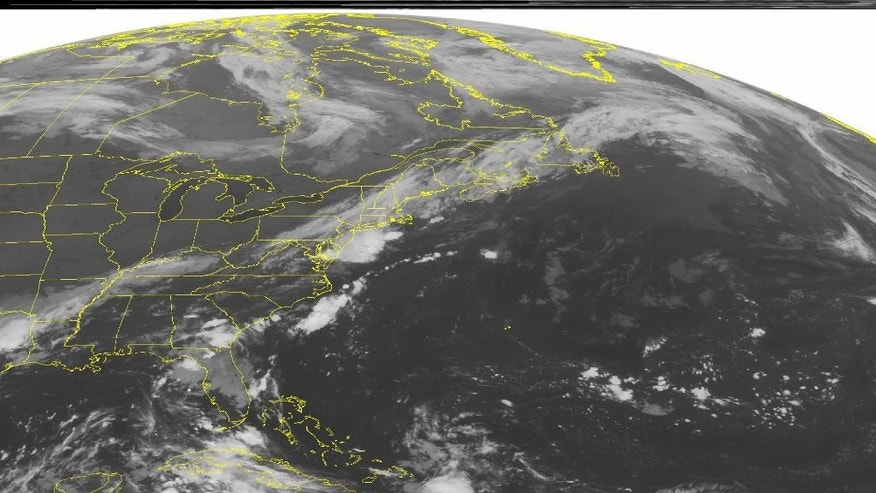 This NOAA satellite image taken Sunday, Sept. 7, 2014 at 1:45 a.m. EDT shows a cold front across the Northeast, Mid Atlantic, Tennessee Valley and the Lower Mississippi Valley producing thunderstorms and rain showers throughout the regions. Thunderstorms continue to develop over Florida and Georgia due to a tropical disturbance. Mostly clear skies over the Great Lakes, Upper Mississippi Valley and the Plains from dominating high pressure.(AP PHOTO/WEATHER UNDERGROUND)