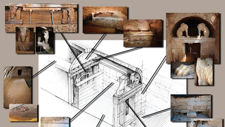 This graphic released on Tuesday, Sept. 9, 2014 by the Greek Culture Ministry, shows what Greek archaeologists have unearthed so far, working slowly and laboriously in a vast 4th Century BC underground tomb in Amphipolis, northern Greece, dating from the end of the reign of ancient Greek warrior-king Alexander the Great. Clockwise from top right, the photos show two headless, wingless marble sphinxes above the entrance to the barrel-vaulted tomb - which was originally blocked by a large wall - details of the facade and the lower courses of the blocking wall, the antechamber's mosaic floor, a 4.2-meter long stone slab whose lower surface was painted in blue, red and gold that is the sole survivor of several which originally roofed the first chamber, the upper uncovered sections of two female figures that decorated the wall opening onto the second chamber and was also blocked off, and the highest section of that wall that was found with a hole in its top left-hand corner. The second chamber and a third, not pictured, to the left, have not yet been explored. Archaeologists believe that, despite extensive signs of forced entry during antiquity, the tomb has not been plundered. The structure is 6.5 meters high inside, and was covered by a large earthen mound originally capped by a stone lion statue on a large plinth. There is no indication so far of who it was built for, with theories ranging from a senior military commander of Alexander's to a member of his family. Alexander himself, who died in 323 BC after carving out an empire from modern Greece to India, was buried in the city of Alexandria in Egypt, which he founded. (AP Photo/Culture Ministry)