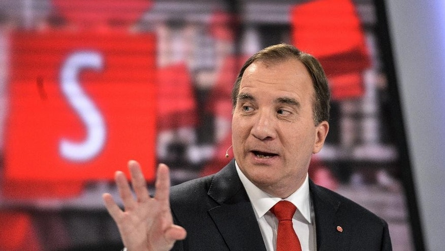 Opposition leader Stefan Lofven of the Social Democrats answers a question during the hearing of opposition party leaders at the Swedish TV station TV4 in Stockholm, Sweden, Wednesday Sept. 10, 2014. The Swedish general election will take place on Sept. 14. (AP Photo/TT News Agency, Pontus Lundahl) SWEDEN OUT