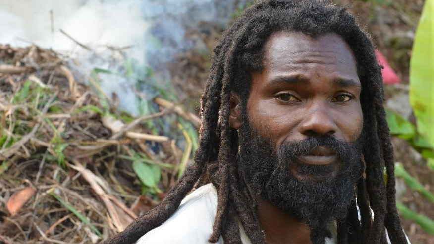"In this Sept. 2, 2014 photo, Joseph Williams, a former Jamaican soldier who is now the ""scribe"" for the School of Vision Rastafarian group, is shown taking a break from clearing steep farmland at the their isolated retreat in the Blue Mountains that tower over Kingston, Jamaica. For years, Rastafarians were treated as second-class citizens and looked down upon by many Jamaicans as oddball, even dangerous drug-addled cultists. (AP Photo/David McFadden)"