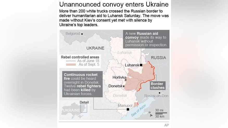 Graphic shows the rebel controlled areas in Ukraine and UPDATES with news of new Russian aid convoy; 2c x 3 3/4 inches; 96.3 mm x 95 mm;