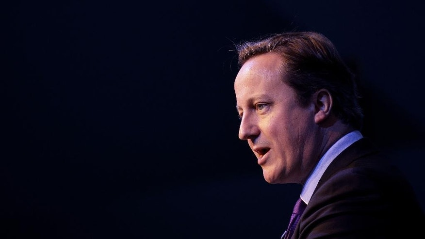 "File-This Oct. 11, 2013, file photo shows British Prime Minister David Cameron speaking during an investment conference in Belfast, Northern Ireland. Islamic State extremists released a video showing the beheading of British aid worker David Haines, who was abducted in Syria last year, and Cameron late Saturday, Sept. 13, 2014, condemned his slaying as ""an act of pure evil.""  (AP Photo / Peter Morrison, File)"
