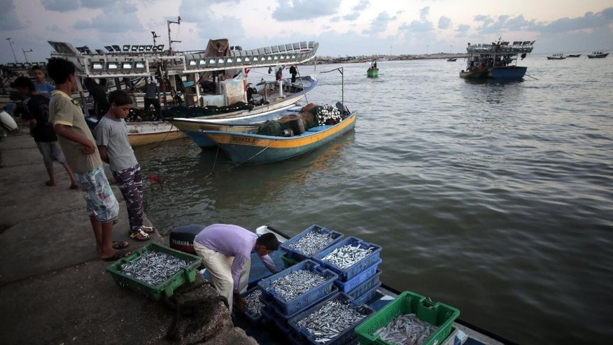 In this Saturday, Sept. 13, 2014 photo, Palestinians fishermen unload their catch after returning from fishing, at the sea port of Gaza City, Gaza Strip. After a ruinous war, Gaza is rushing back to a veneer of normalcy at astonishing speed. Gazans who endured more than 50 days of devastating Israeli bombardment are now eager to enjoy some life. Far from a celebration, however, Gazans themselves acknowledge the revelry is only to thinly mask trauma and widespread despair. (AP Photo/Khalil Hamra)