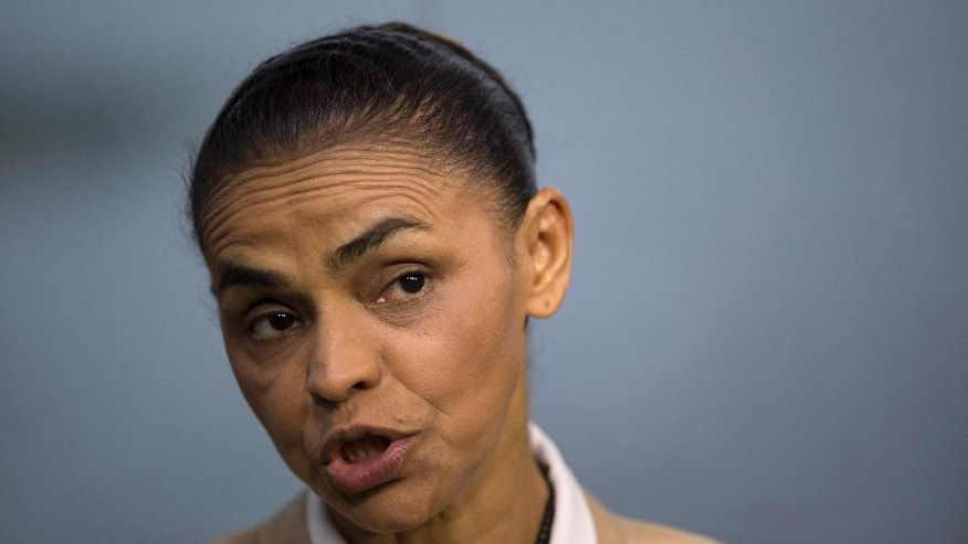 Marina Silva, presidential candidate of the Brazilian Socialist Party, speaks during an interview with AP in Rio de Janeiro, Brazil, Wednesday, Sept. 17, 2014. Silva was thrust into the Socialist Party's presidential nomination when its candidate of choice, Eduardo Campos, died in a plane crash last month. Since then, her anti-establishment profile has propelled her to a neck-and-neck race with the actual President Dilma Rousseff. If elected Silva says that she'll work to repair ties with the U.S. damaged by American espionage in Brazil. (AP Photo/Silvia Izquierdo)