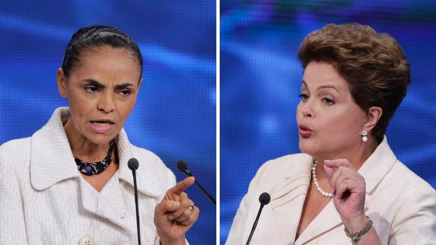 FILE - This combination of two file pictures taken on Aug. 26, 2014, shows presidential candidate Marina Silva of the Brazilian Socialist Party, left, and Brazil's President Dilma Rousseff, who is seeking re-election, during a televised presidential debate in Sao Paulo, Brazil. More than a decade of Workers Party' rule has seen Brazil prioritize ties with its leftist regional neighbors. But if Rousseff fails to fight off the surging candidacy of reform-minded Silva before the October elections, South America's largest economy could reset its focus.(AP Photo/Nelson Antoine, File)