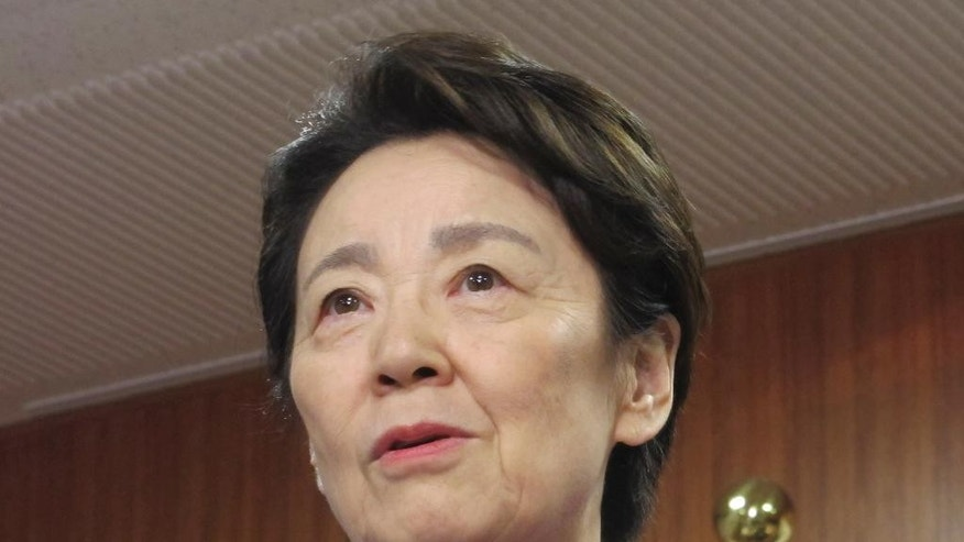 Japanese Minister in charge of abductions Eriko Yamatani speaks during an interview with journalists at her office in Tokyo Wednesday, Sept. 17, 2014. Yamatani urged North Korea to quickly release the results of a new investigation into the fate of dozens, possibly hundreds, of Japanese believed to have been abducted by the North's agents in the 1970s and '80s. Yamatani said it is extremely regrettable that North Korea hasn't informed Japan of the timing or other details of its expected announcement. (AP Photo/Mari Yamaguchi)