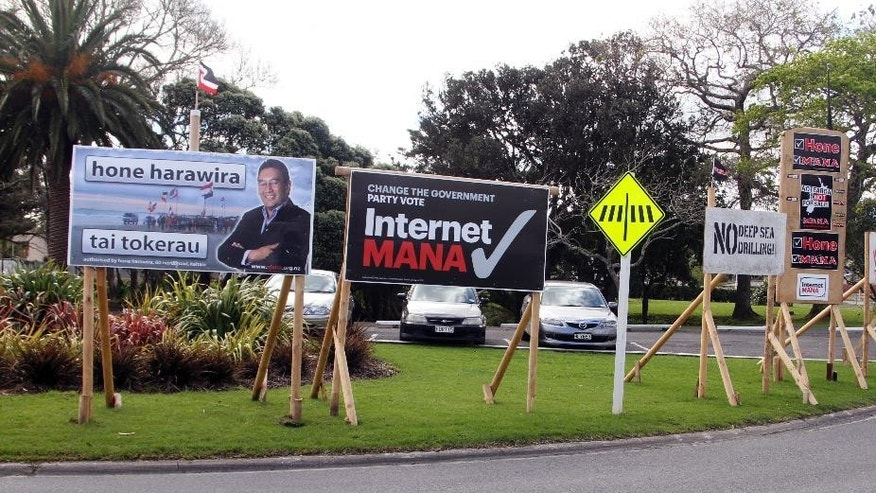 Sept. 8, 2014 - Election billboards in Kaitaia, New Zealand. New Zealand has more restrictive campaigning & media rules than most developed nations and when voters go to  polls Saturday, Sept. 20, there will be almost nothing about the election on TV or the Internet.