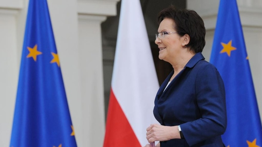 Poland's Prime Minister-designate Ewa Kopacz arrives for the presentation of the ministers of her cabinet, in Warsaw  Poland, Friday, Sept. 19, 2014. The new Polish government will be sworn in on Monday Sept. 22. (AP Photo/Alik Keplicz)