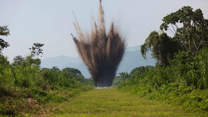 In this Sept. 19, 2014 photo, explosives are detonate by Peruvian counternarcotics forces on a part of a clandestine grassy airstrip in the Apurimac, Ene and Mantaro River Valleys, or VRAEM, the world's No. 1 coca-growing region, in Ayacucho, Peru. The dynamiting of craters by Peruvian security forces into clandestine airstrips cuts into profits but hardly discourages cocaine traffickers who net tens of thousands of dollars with each flight flown from these airstrips. (AP Photo/Rodrigo Abd)