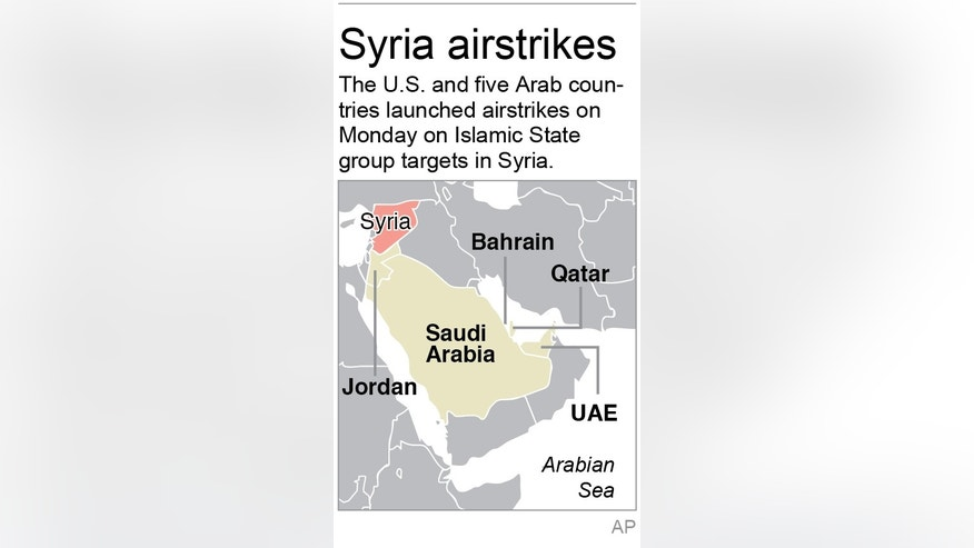 Graphic shows five Arab countries that conducted airstrikes against the Islamic State group in Syria; 1c x 3 inches; 46.5 mm x 76 mm;