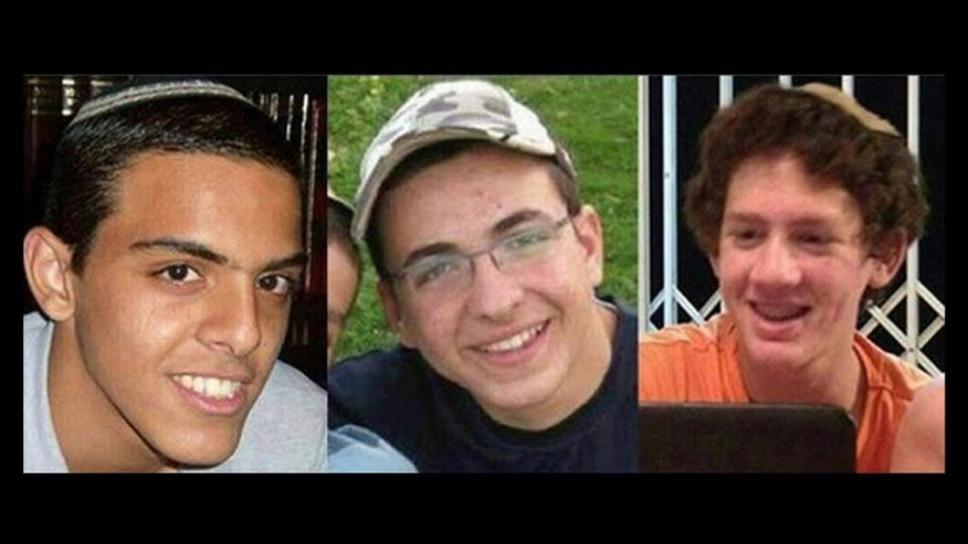 FILE - This undated file image released by the Israel Defense Forces shows a combination of three photos of Israeli teens Eyal Yifrah, 19, Gilad Shaar, 16, and Naftali Fraenkel, a 16-year-old with dual Israeli-American citizenship, who disappeared while hitchhiking home near the West Bank city of Hebron late at night on June 12, 2014, and were never heard from again. Their bodies were found two weeks later.  Israeli forces stormed a West Bank hideout early on Tuesday, Sept. 23, 2014 and killed two Palestinians suspected in the fatal abduction of three Israeli teens in June, one of the incidents that ultimately sparked the Gaza war this summer, an Israeli military spokesman said. (AP Photo/Israel Defense Forces, File)