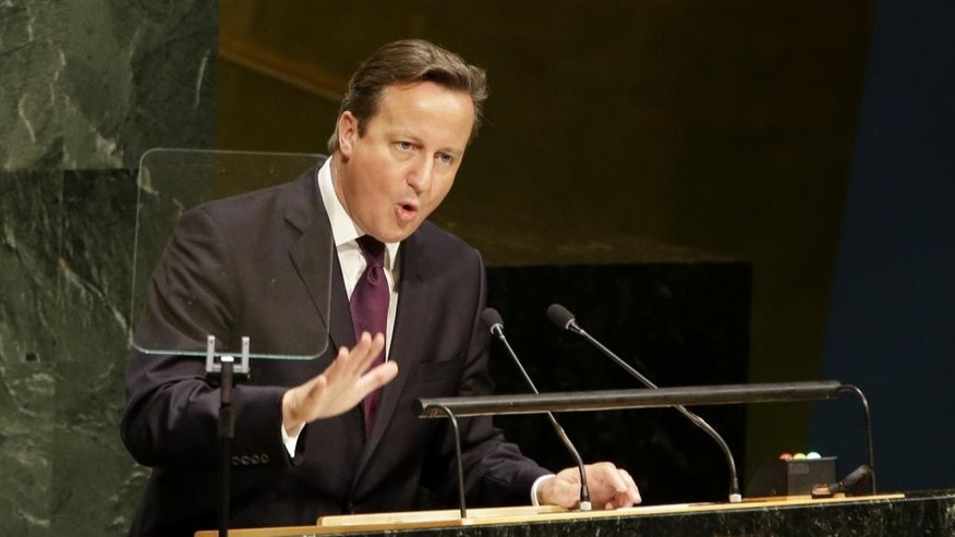 British Prime Minister David Cameron speaks during the United Nation Climate Summit at U.N. headquarters, Tuesday, Sept. 23, 2014. (AP Photo/Seth Wenig)