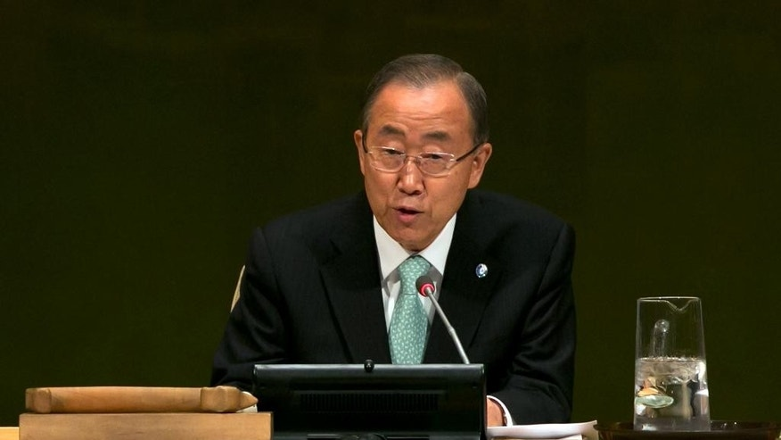 United Nations Secretary-General Ban Ki-moon addresses the Climate Change Summit, at U.N. headquarters, Tuesday, Sept. 23, 2014. (AP Photo/Richard Drew)