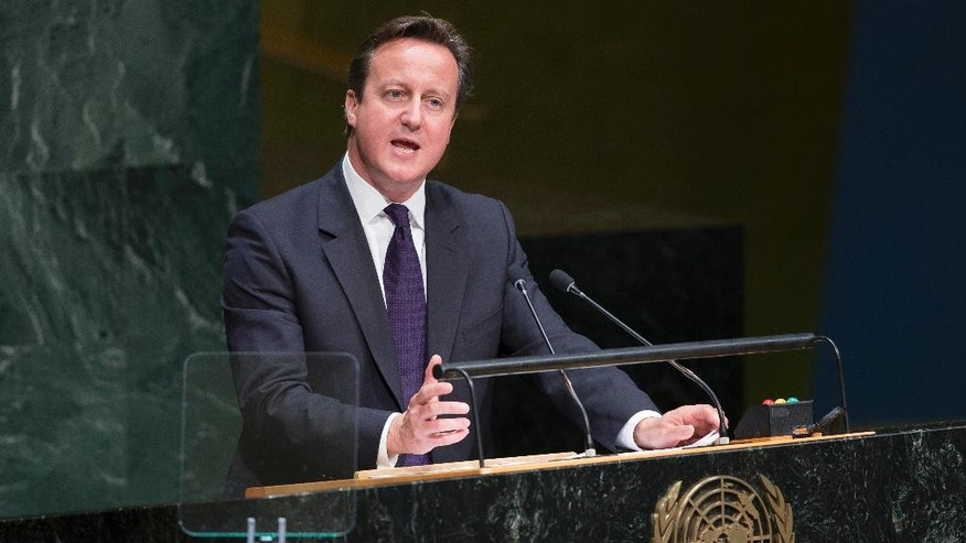 United Kingdom's Prime Minister David Cameron addresses the 69th session of the United Nations General Assembly, Wednesday, Sept. 24, 2014, at U.N. headquarters. (AP Photo/John Minchillo)