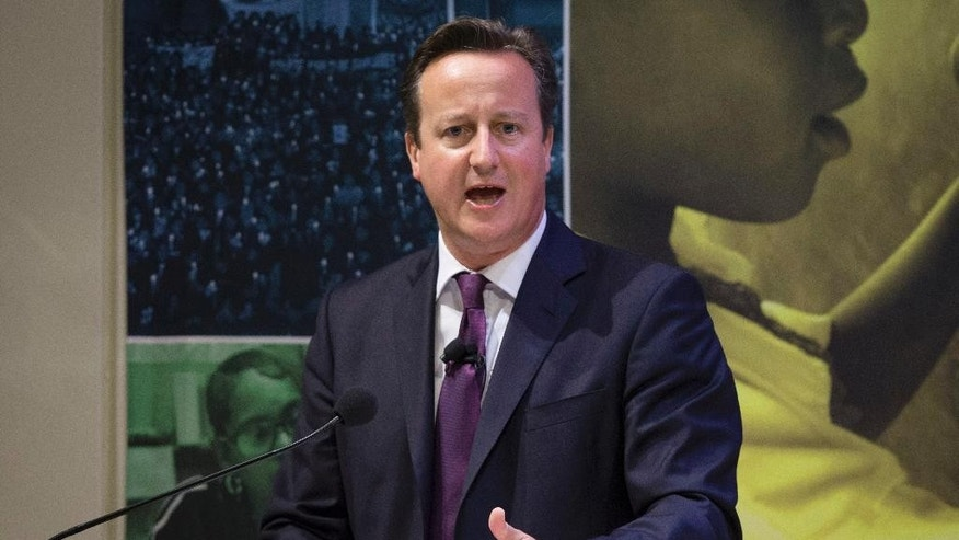 British Prime Minister David Cameron speaks during a high-level meeting at the Ford Foundation on post-2015 anti-poverty goals, Wednesday, Sept. 24, 2014, in New York. (AP Photo/John Minchillo, Pool)
