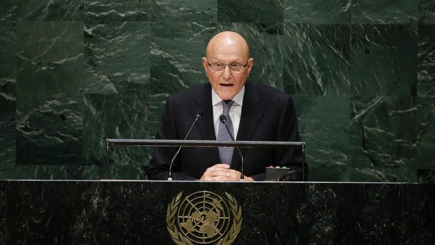 Lebanese Prime Minister Tammam Salam addresses the 69th session of the United Nations General Assembly at U.N. headquarters on Friday, Sept. 26, 2014, at the United Nations headquarters. (AP Photo/Frank Franklin II)