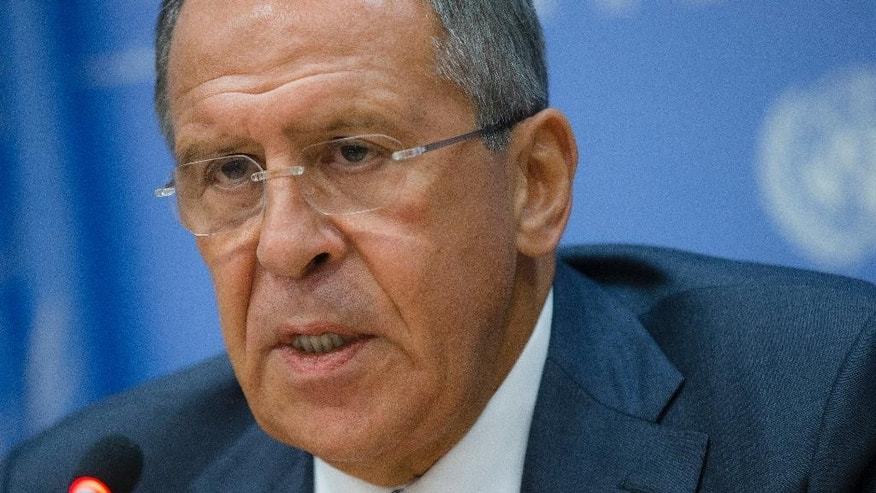 Russia's foreign minister Sergey Lavrov speaks at a news conference during the 69th United Nations General Assembly at U.N. headquarters, Friday, Sept. 26, 2014. (AP Photo/John Minchillo)
