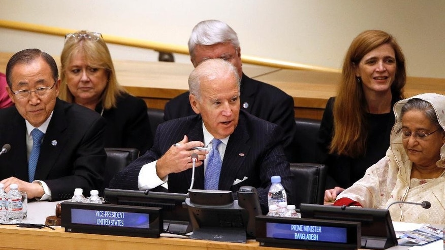 U.S. Vice President Joe Biden chairs a summit on international peacekeeping operations on the sidelines of the 69th session of the United Nations General Assembly at U.N. headquarters, Friday, Sept. 26, 2014. (AP Photo/Jason DeCrow)