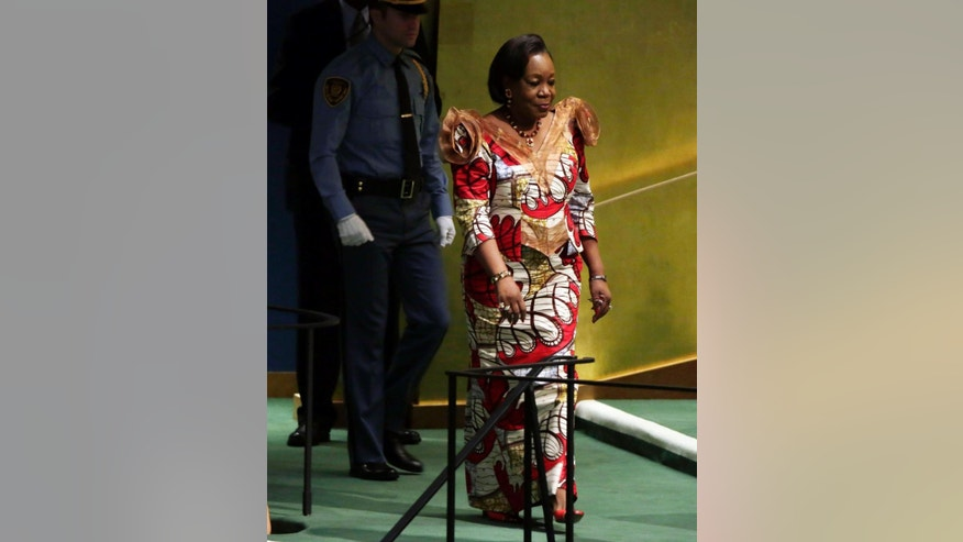Interim President of the Central African Republic, Catherine Samba-Panza, arrives to address the 69th session of the United Nations General Assembly, at U.N. headquarters, Saturday, Sept. 27, 2014. (AP Photo/Richard Drew)
