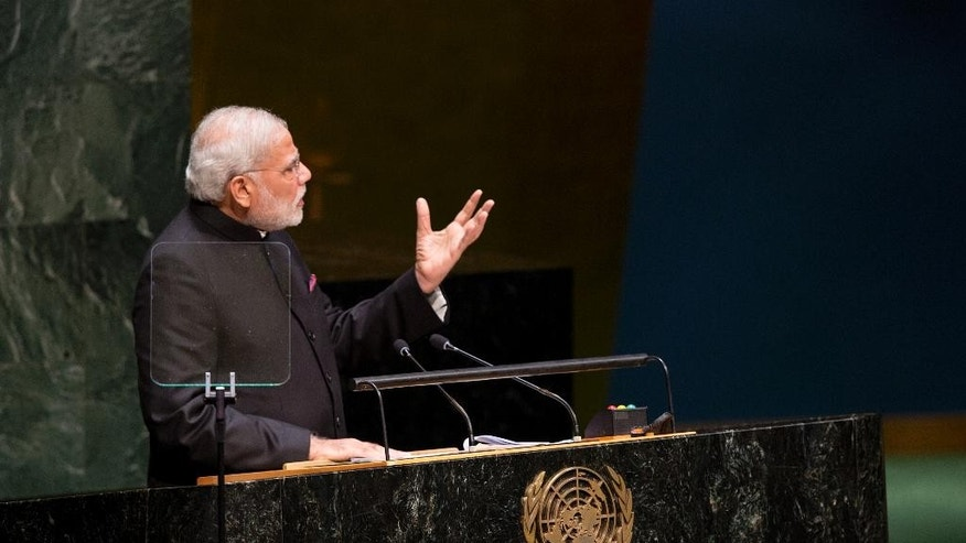 Indian Prime Minister Narendra Modi addresses the 69th United Nations General Assembly at U.N. headquarters, Saturday, Sept. 27, 2014. (AP Photo/Craig Ruttle)