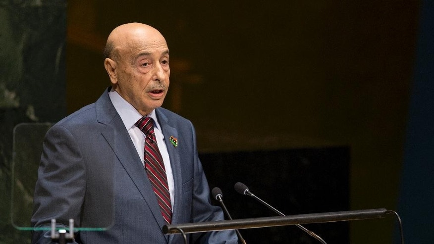 Agila Saleh Essa Gwaider, President of the House of Representatives, of Libya, addresses the 69th United Nations General Assembly at U.N. headquarters, Saturday, Sept. 27, 2014. (AP Photo/Craig Ruttle)