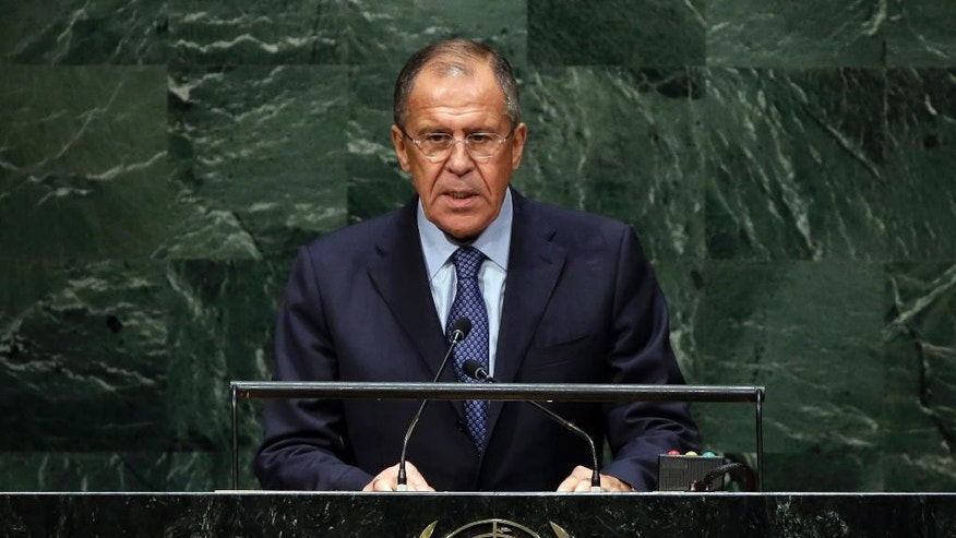 Foreign Minister Sergey Lavrov, of Russia, delivers his address the 69th session of the United Nations General Assembly, at U.N. headquarters, Saturday, Sept. 27, 2014. (AP Photo/Richard Drew)
