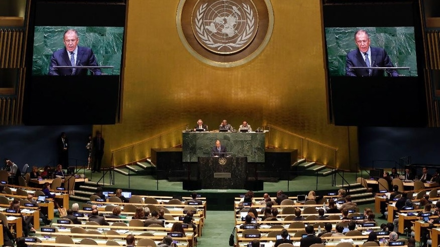 Foreign Minister Sergey Lavrov, of Russia, delivers his address to the 69th session of the United Nations General Assembly, at U.N. headquarters, Saturday, Sept. 27, 2014. (AP Photo/Richard Drew)