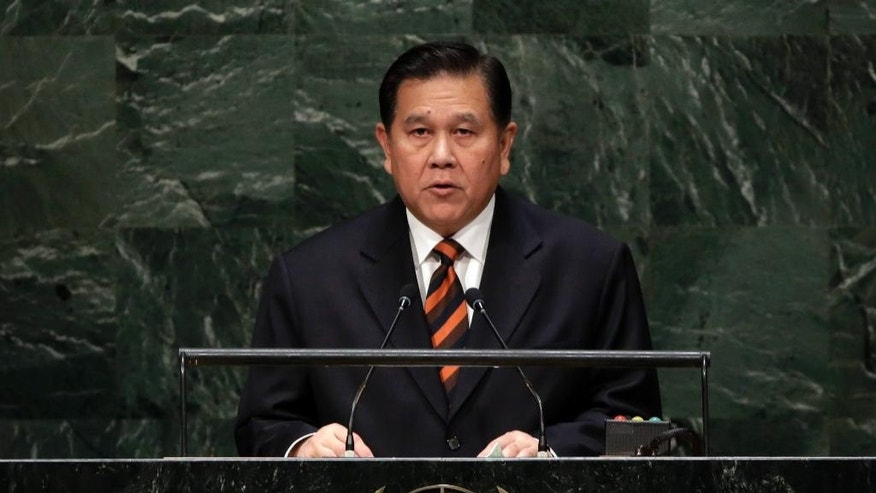 Foreign Minister Tanasak Patimapragom of Thailand, addresses the 69th session of the United Nations General Assembly, at U.N. headquarters, Saturday, Sept. 27, 2014. (AP Photo/Richard Drew)