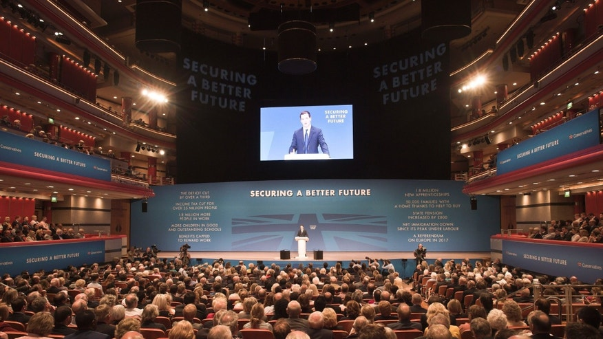 Sept. 29, 2014 - Britain's economic cabinet minister, Chancellor of the Exchequer, George Osborne, speaks at the annual Conservative Party conference in Birmingham, England. Britain's governing Conservatives were struggling to focus attention on their economic policies after a government minister sent an explicit photo to a tabloid journalist posing on Twitter as a young party supporter.