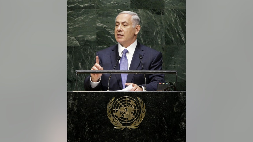 Israeli Prime Minister Benjamin Netanyahu speaks during the 69th session of the United Nations General Assembly at U.N. headquarters, Monday, Sept. 29, 2014. (AP Photo/Seth Wenig)